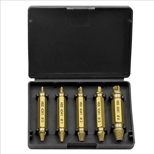 happygirr 5 STÜCKE Titanium Plated 4341 Schraubenausdreher Kit Doppelkopf Gebrochene Schrauben Entferner Repair Tool Zahnentfernungswerkzeug für Beschädigte Schrauben