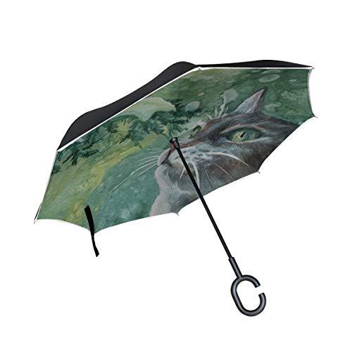 Katze malen Malerei Zweig Schnee Winter Zeichnung umgekehrten Regenschirm große Doppelschicht Outdoor Regen Sonne Auto Wendeschirm