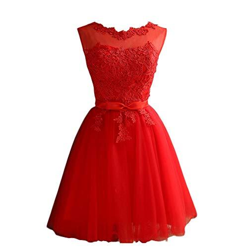 Mallalah Mini Vestidos para Mujer Brillo con Encaje Princesa Vestido de Noche de Tul Vestido de Dama de Honor Aplique Corto M-2XL (L, Rojo)