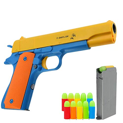 Pinovk Kid Toy Gun Classic Colt 1911 Toy Gun with Soft Bullets Ejecting Magazine and Pull Back Action 1:1 Replica of an M1911A1 Colt 45 and 5 Extra Bullets