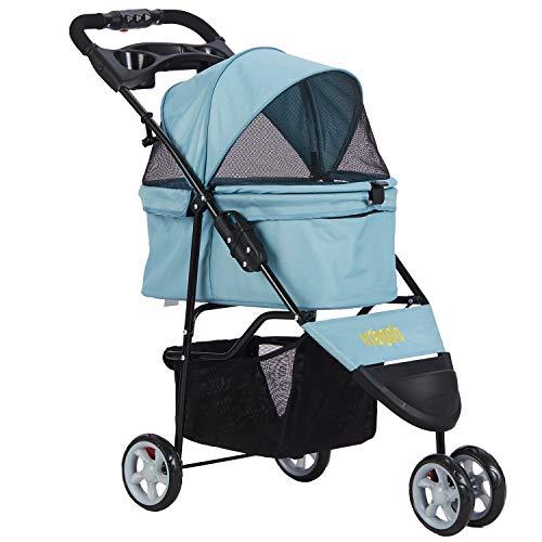 VIAGDO 3 Rad-Buggy für Hunde und Katzen, Hundewagen Hundebuggy, Kein Reißverschluss Haustier Kinderwagen Jogger Buggy - NO-Zip-Zugangstechnologie