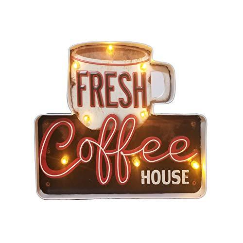 Señales luminosas Lámpara de Cafetería FSVEYL, Estilo Industrial Antiguo Con Artesanía de Pintura de Hierro, Apto Para Decoración de Paredes en Bares, Casas, Cocinas, AlimentadoPor Baterías (15℃)…