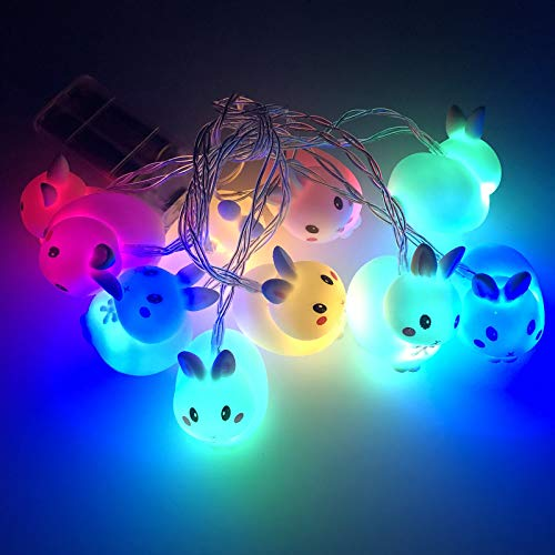 LAIYIFA Easter LED String Lights Bunny Theme 6ft 10 Bulbs Battery/USB Operated Copper Wire Night Light Waterproof Indoor Bedroom Kids Boys and Girls Birthday Gift Room Wall Décor Party Decorations