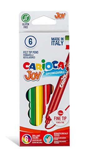 Carioca - Caja de rotuladores con tinta lavable, punta fina sintética, 6 unidades, multicolor