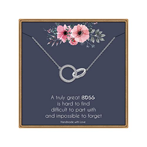 IEFLIFE Boss Gifts Necklaces for Women, Infinity Circles Necklace Gifts for Boss Double Circles Necklace Boss Lady Gifts