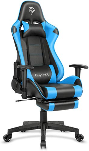 Gaming Chair Racing Office Computer Ergonomic Video Game Chair Backrest and Seat Height Adjustable Swivel Recliner Chair (Blue)