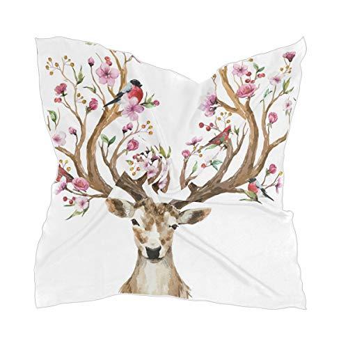 XiangHeFu halsdoek hoofdtooi chiffon schaar hoofddoek licht hertengewei bloemen vogels op hoorns kersen plant zijden sjaal