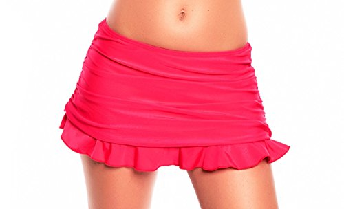 Raffinierter Damen Bikini/Strand Rock mit integrierter Hose/Volant Farbe: Rot 1086M-f3642, Gr. 42