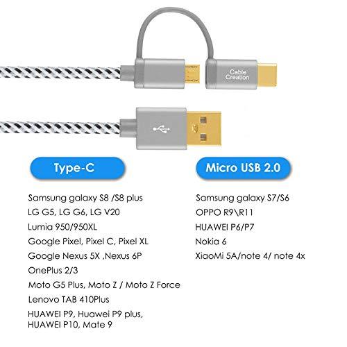 CableCreation 2 in 1 USB C und Micro USB Kurzkabel, 0,8 Fuß geflochten USB Daten & Ladekabel für Neue MacBook (Pro), Google Pixel XL, Android und Typ C Geräte, 0,25 Meter/Space Grau Aluminium