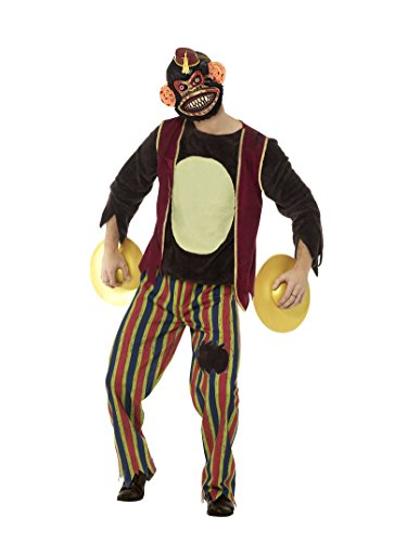 Smiffys Deluxe Herren Klatschender Spielaffe Kostüm, Oberteil, Hose, Maske und Becken, Größe: M, 45574