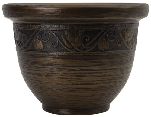 Listo Round Resin Planter - The HC Companies 9-Inch Decorative Glaze Resin Pottery Flower Pot Planters for Indoor/Outdoor Plants Celtic Bronze (ZEA09001P54)