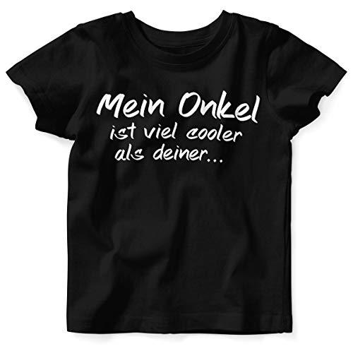 Mikalino Baby/Kinder T-Shirt mit Spruch für Jungen Mädchen Unisex Kurzarm Mein Onkel ist viel Cooler als deiner | handbedruckt in Deutschland | Handmade with Love, Farbe:schwarz, Grösse:92/98