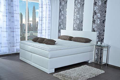 MeineMatratze24 Boxspringbett Emma | Direkt vom Hersteller | 7-Zonen Taschenfederkern-Matratze H2 / H3 / H4 und Topper Aufbau | Hotelbett Doppelbett | (180 x 200 cm)