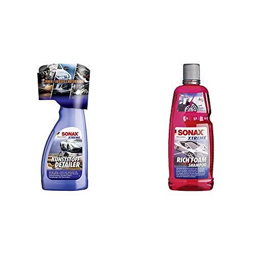 SONAX Xtreme KunststoffDetailer Innen + Außen (500 ml) Reinigung, Pflege und Schutz für das gesamte Fahrzeug   Art-Nr. 02552410 & Xtreme RichFoam Shampoo (1 Liter) Schaum-Shampoo