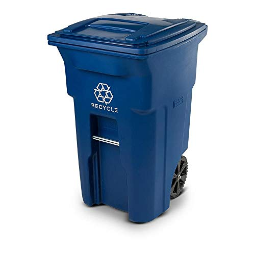 Toter 64 Gal Blue Rollout Recycling Container with Attached Lid