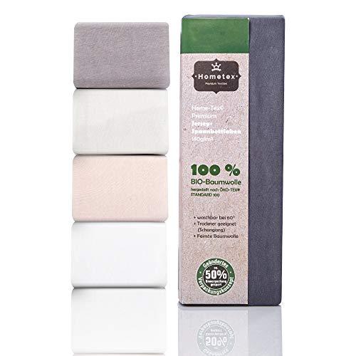 Hometex Premium Textiles Bio Spannbettlaken Spannbetttuch bis 25 cm Steghöhe | Bettlaken aus 100% Bio-Baumwolle 140g/m² - PREMIUMQUALITÄT ÖKO-TEX Standard Green 100 | 140/190-160/200 cm Anthrazit