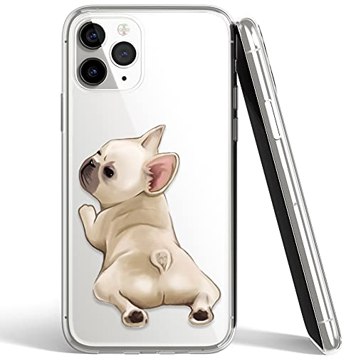 French Bulldog Phone Case Compatible with iPhone 12/12pro,Soft TPU Silicone Slim Transparent Protective Case for iPhone 12/12pro,Gift for Women Girls (Look-Back-1)
