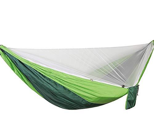 sxyp Upgraded 2 Person Camping Hangmat Met Muggennet En Gratis Boom Banden.Luxe Swinging Hangmat Voor buiten, Ultra-Licht Draagbare Dubbele Parachute Hangmatten, Outdoor Indoor Tuin Patio green green