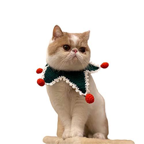 BAIZAN Gato Navidad y Baba joyería del Perro del Animal doméstico Bufanda, Lavable Reversible Ajustable Mano para Mascotas Bandana hicieron Falso Collar de Mascotas Triángulo Baberos,2,S
