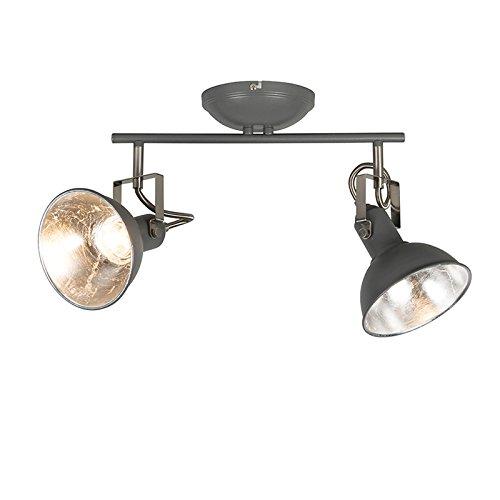 QAZQA rústico Plafón antracita 2 luces giratorio e inclinable - Tommy 2...