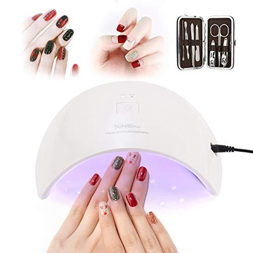 Lámpara LED Uñas UV 36W, CompraFun Secador de Uñas Profesional, Luz Doble Sensor Automático Temporizador 30s y 60s, Uso en Casa Salón Secado Esmalte y Gel, Juego de Cortauñas Incluido