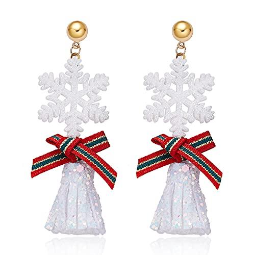 Pendientes de Navidad, campanas de lazo de Navidad con diseño de copo de nieve de dibujos animados de amor pendientes de manzana adecuados para niñas
