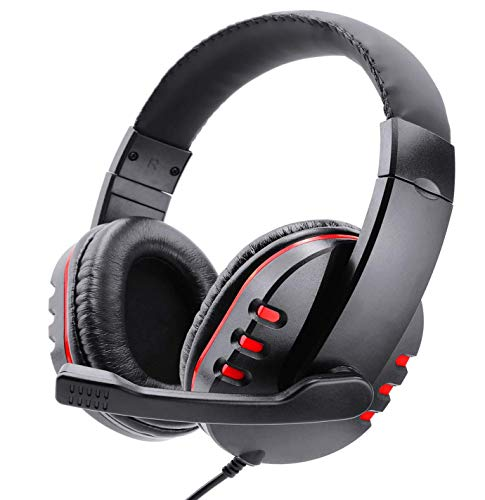 Photo of Poulep Gaming Headset Headphone for PS4, Playstation 4, NS Switch, Playstation Vita, Mac, Laptop, Tablet, Computer, Mobile Phones with Microphone (3.5mm Plug,Red)