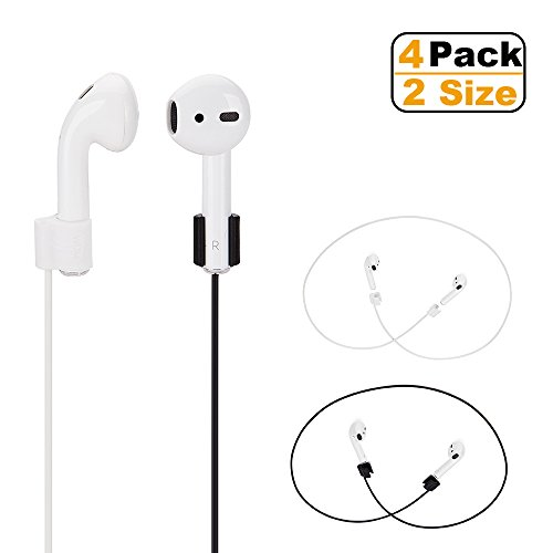 Yunc Airpods Strap,Airpods Accessories,Airpods Ear Hooks, TPE Sport Secure Anti-Lost Strap Wire Cable Connector Holder for Airpods Wireless Bluetooth Earphones,4 Pack Inch Neck Strap, Black 4336727401