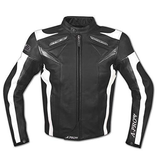 A-Pro Moto Giacca Pelle Motociclismo Sport Gilet Estraibile Protezioni CE Nero L