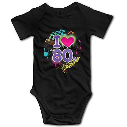 Mark Stars 1980s-Party Decorations Disco I Love The 80s Newborn Girl Boy Kid Baby Romper Short Sleeve Bodysuit(12M,Black)