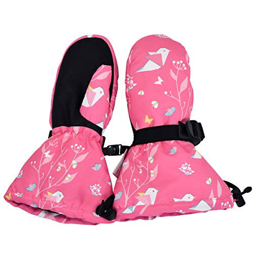 Jan & Jul Waterproof Stay-on Winter Snow and Ski Mittens Fleece-Lined for Baby Toddler Kids Girls (S: 2-4Y, Origami)