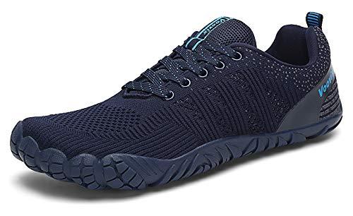 Voovix Barfußschuhe Damen Herren Outdoor Fitnessschuhe Straßenlaufschuhe Atmungsaktive rutschfeste Laufschuhe(Blau,44)