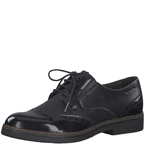Tamaris Damen Schnürhalbschuhe, Frauen Businessschuh, Halbschuh schnürschuh schnürer klassisch elegant weiblich Lady Ladies,Black,36 EU / 3.5 UK