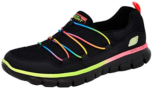 Skechers Sport Women's Loving Life Memory Foam Fashion Sneaker, Black/Black/Multi, 8 M US