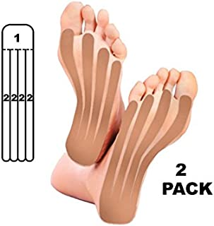 5 Pack - Kindmax Kinesiology Tape Precut Foot Support (Beige) - K Tape for Foot Pain, Plantar Fasciitis
