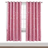 WUBODTI Pink Blackout Curtains for Girls Bedroom - 52 x 84 Inches Silver Star Kids Window Curtains 2 Panel Sets, Living Room Darkening Grommet Light Blocking Thermal Insulated Nursery Drapes