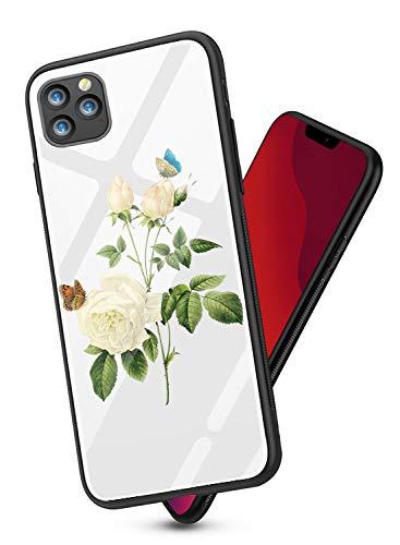 Caler Coque Compatible pour iPhone 11 Pro Max avec 9H Verre Trempé Arrière Rigide Silicone TPU Bumper Ultra Mince Motif Marbre Couleur Antichoc Protection Housse Etui(Fleur Blanc)