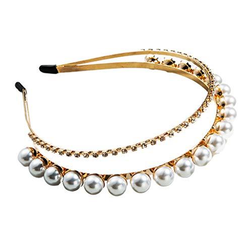 Zweireihige Hochzeitsfeier Haarbänder Kristall Strass Geometrische Krone Haarschmuck Metall Haar Reifen Perle Schmuck Für Bräute