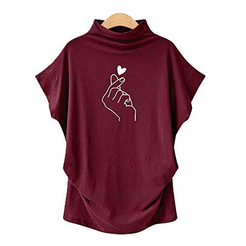 Das Neue Hochgeschlossene, KurzäRmelige, Bedruckte T-Shirt FüR Frauen Im FrüHjahr Und Sommer