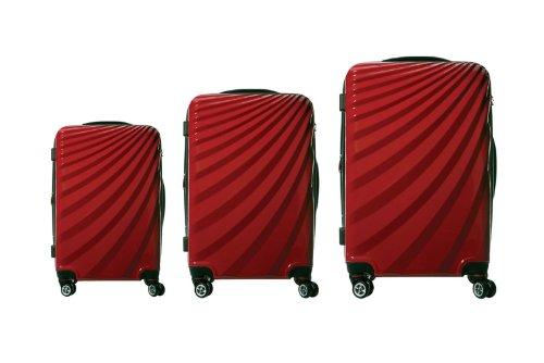 Viviana Trolley Polycarbonat Kofferset TSA Doppelrollen - Farben und Größenvielfalt (M, Rot)