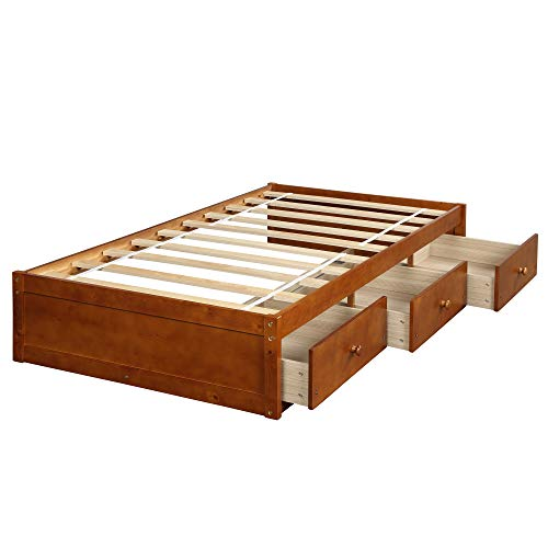 Daybed Twin with 3 Drawers,JULYFOX Heavy Duty Bed Frame No Headboard No Box Spring Need Sturdy Pine Wood Construction Space Saving Low Profile for Kids Teens Juniors Single Adults-Oak