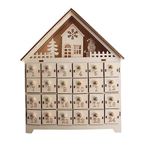 qianqian56 - Calendario de adviento de madera con diseño de muñeco de nieve con 24 cajones con luz LED, 2, tamaño único
