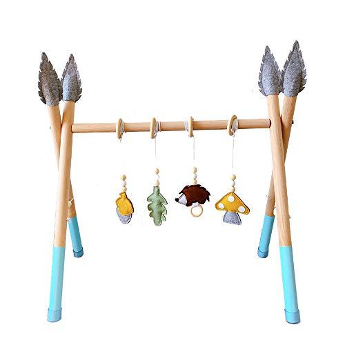 HSJCZMD Faltbare Holz Baby-Spiel-Gymnastik, Baby Fitness-Rahmen mit 4 PC Anhängern Spielzeug, handgemachte natürliche Kinder Fitness-Rack für Babys, Kinder,N