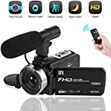Video Camera Camcorder 1080P Digital Camera Night Vision YouTube Vlogging Camera with External Microphone and Remoter