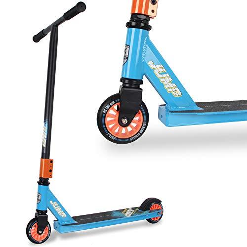 WeLLIFE Trottinette Freestyle Stunt Scooter Jump bleu pour enfants et garçons, roue 100 mm, roulements ABEC 7, guidon rotatif à 360 °, repose-pieds renforcé