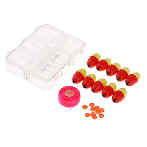 P Prettyia 10 x Kunststoff Stopper Angelschwimmer mit Box für Nachtfischen - Rot + Gelb