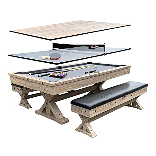 Freetime Fun Rockford 7-FT 3 in 1 Multi Game Featuring Pool Dining Table and Table Tennis Tables, Storage Benches and Upgraded Accessories Kit Included