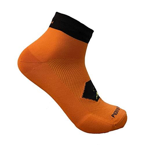 PERRO LOCO Calcetines Cortos para Correr técnicos Coolmax. Calcetines Tobilleros Running. Edición Limitada. Diseñados en Murcia. Fabricados en España. (Naranja, 43-45)