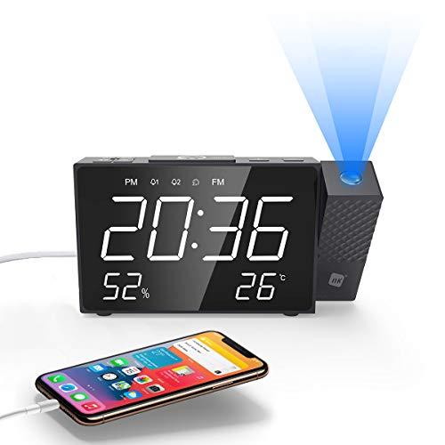 NK Radio Despertador Digital - Inteligente, FM Radio, Medidor Temperatura, Alarma, USB, Modo Noche, Proyección Horaria, Temporizador Sueño