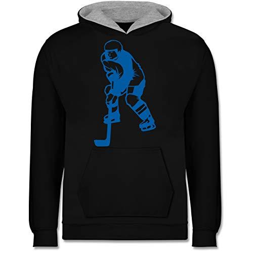 Sport Kind - Eishockeyspieler blau - 104 (3/4 Jahre) - Schwarz/Grau meliert - JH003K_Kinder_Kontrast_Hoodie - JH003K - Kinder Kontrast Hoodie